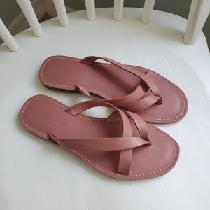 Madewell pink leather criss-cross sandals 6